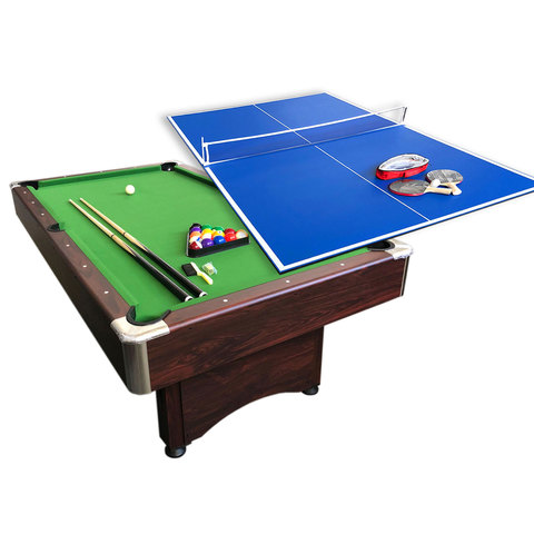 7 Ft Pool Table Green Cloth With Tennis Table And Accessories