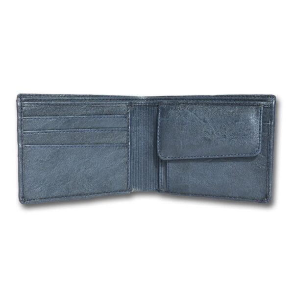 Blue Leather Two-Fold Wallet for Men leather Wallets