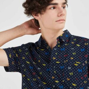 Butterfly Printed Short Sleeves Shirt Multicolour