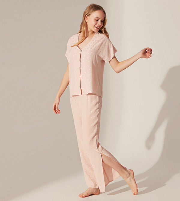 Dotted Short Sleeve Standard Long Thin Voile Pajamas Set-Pink