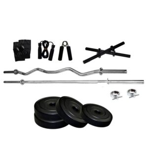 Home Gym 5 Ft Straight And 3 Ft Curl Rod Set 20 Kg1