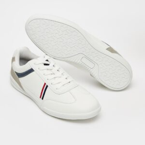 Solid Lace-Up Sneakers with Stripe