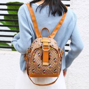 Synthetic Leather Zipper Buckle Closure Mini Backpacks