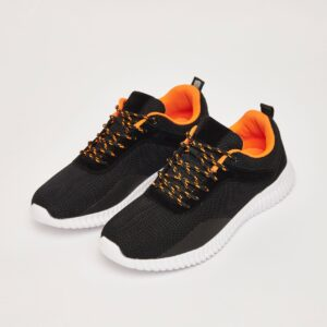 Textured Sports Shoes with Pull Tab and Lace-Up Closure 2