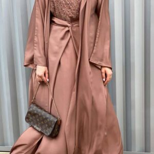 ABAYA SET WITH EMBROIDERED UNDER DRESS ATTACHED WITH BELT