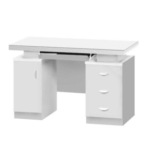 Wooden Office Table with Storage, White