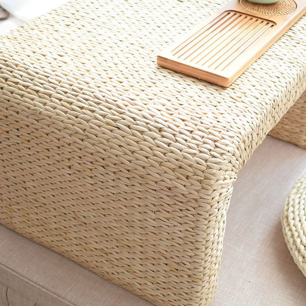 3 Pieces Straw Woven Tea Table And Round Cushions Set