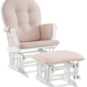 Windsor Glider and Ottoman White Finish and Pink Cushions